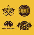 set of vintage carpentry woodwork and mechanic vector image vector image