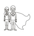 silhouette cartoon full body couple youngs super vector image vector image
