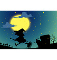 Silhouette witch flying on broom at night vector image