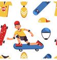 skateboarder and skateboarding sport equipment vector image vector image