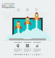 startup infographics with three steps vector image vector image