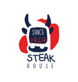 steak house logo template since 1969 vintage vector image vector image