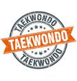 taekwondo round grunge ribbon stamp vector image vector image