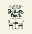 template business lunch menu with a table for two vector image vector image