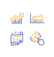 trade chart demand curve and architect plan icons