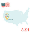 usa map with las vegas pin travel concept vector image