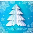 White origami paper christmas tree vector image