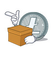 with box litecoin character cartoon style vector image