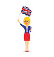 woman waving the uk flag vector image vector image