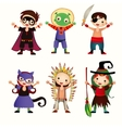 An of kids in halloween costumes vector image