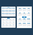 set simple pocket calendar years week starts from vector image