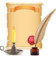 old paper and candlestick vector image