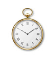 3d realistic metal golden old vintage pocket watch vector image