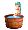 A big bathtub with a mermaid vector image vector image