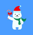 a christmas white bear of icon holiday day vector image vector image