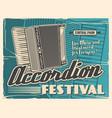 accordion folk music instruments live festival vector image