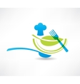 blue kitchen set cook and a green leaf icon vector image