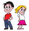 Boy and girl color vector image