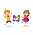 boy and girl with birthday hats happily jumping vector image