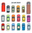 Cars and trucks top view flat icons set vector image vector image