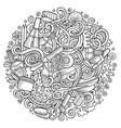 cartoon doodles nail salon vector image vector image