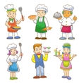 cartoons kids chefs and set cooking vector image vector image