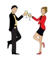Couple clink glasses outline doodle vector image