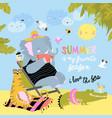 cute cartoon animals sunbathing on beach hello vector image vector image