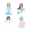 cute little princess mermaid angel cartoon vector image vector image