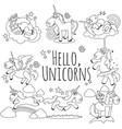 cute unicorn isolated line icon set magic pegasus vector image