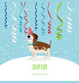 dog and ribbons 2018 christmas card vector image