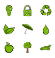 environmental icons set cartoon style vector image vector image