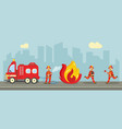 fireman extinguishing fire concept vector image vector image