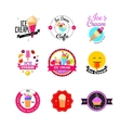 Flat ice cream stickers vector image vector image