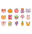 hello autumn design icons collection vector image