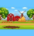 house in farmland landscape vector image