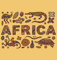 inscription of africa in ethnic style vector image vector image
