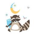 little baby raccoon sleeping vector image