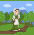 medieval maid on summer landscape background vector image vector image