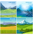 mountain landscape compositions set vector image vector image