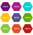 music sound waves icon set color hexahedron vector image vector image