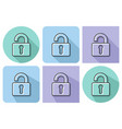 outlined icon of unlocked padlock with parallel vector image vector image