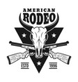 rodeo emblem with bull skull and two rifles vector image vector image
