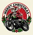 santa claus riding motorcycle badge vector image vector image