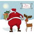 Santa coming Christmas greeting card vector image