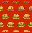 seamless burger pattern fast food vector image vector image
