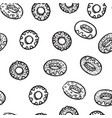 seamless pattern with delicious donuts hand-drawn vector image vector image