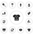 set of 12 editable child icons includes symbols vector image vector image