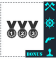 set of gold silver bronze medals icon flat vector image vector image