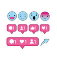 social emojis and chat bubbles message vector image vector image